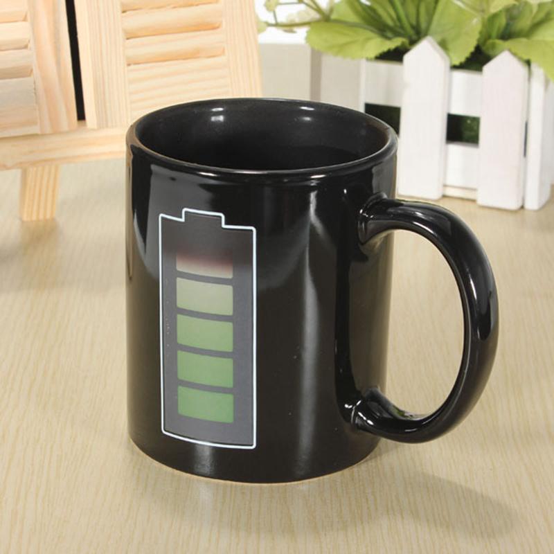 Magic Battery Tea Coffee Mug Heat Hot Cold Ceramic Temperature Sensitive Reactive Color-Changing Porcelain Cup(China (Mainland))