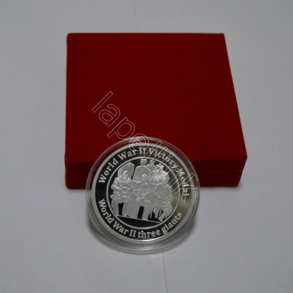 free shipping 50mm silver coin cooper World War II commemorative coin with red boxes(China (Mainland))
