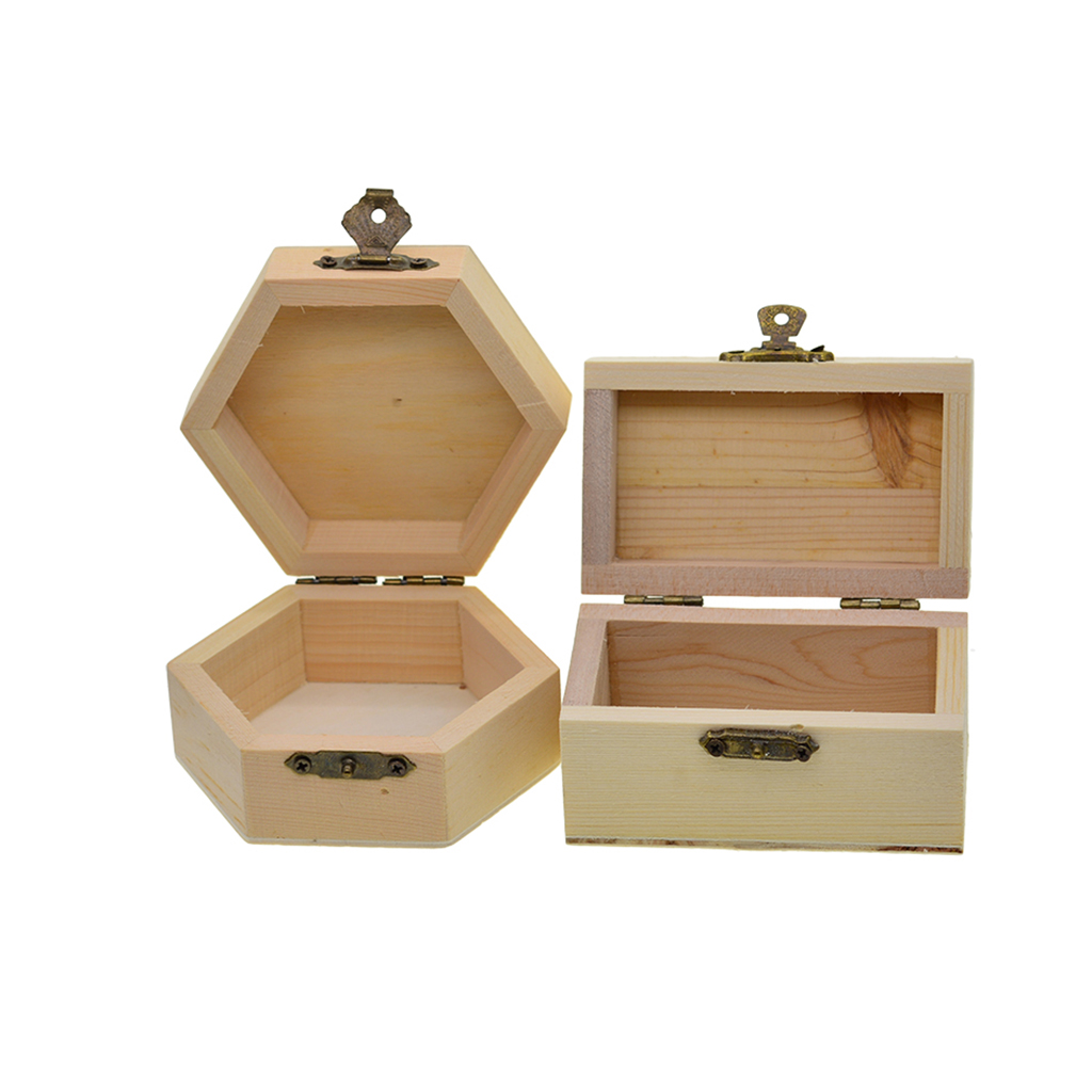 6pcs Natural Unfinished Wood Wooden Jewelry Gift Box Storage Case Organizer for DIY Painting Craft with Lid and Lock
