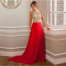 Vestidos de festa longo Prom Dress Luxury Crystal Beaded Evening Dresses Gowns 2015 Long Red Evening Dresses robe de soiree(China (Mainland))
