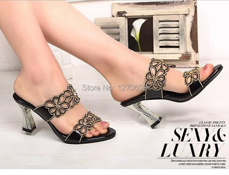 2014 rhinestone high-heeled sandals bohemia diamond women's shoes cutout open toe sandals plus size shoes