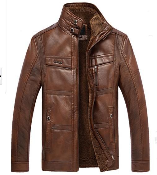 winter men jacket leather jacket thick velvet warm leather men jaqueta couro men winter coat jackets xxxxl-4xl larg size(China (Mainland))