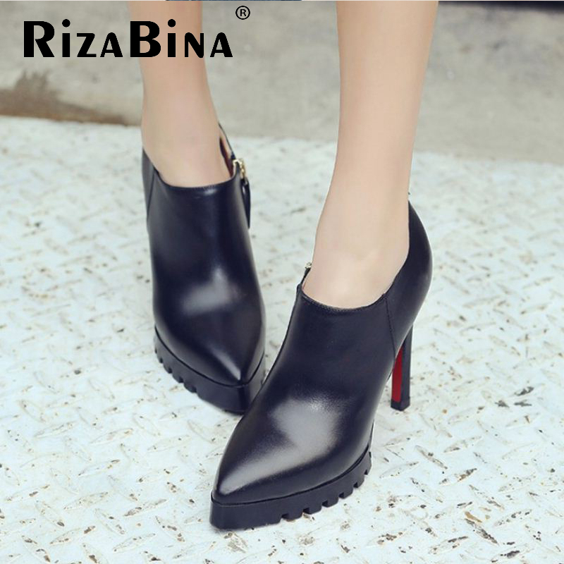 Фотография women pointed toe real genuine leather high heel shoes zipper brand sexy heels fashion pumps heeled shoes size 33-40 R08631