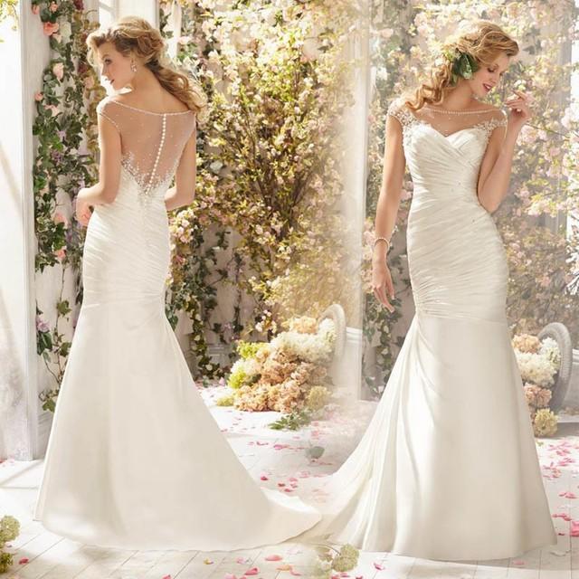 Высокая - конец новый Большой размер кружева свадебное платье развертки поезд свадебное ...