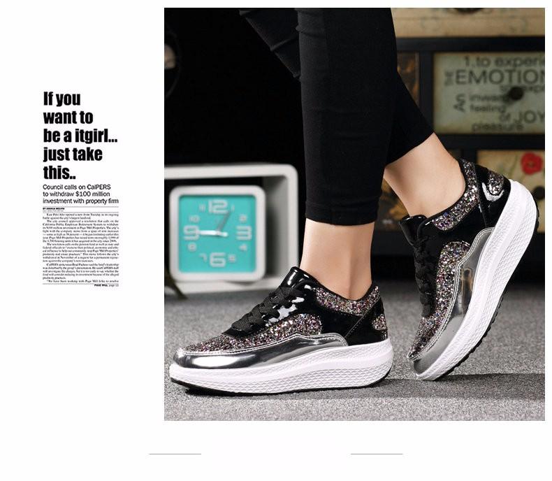 2016 New Autumn Women Glitter Flat Platform Casual Shoes Woman walking Shoes Ladies Shoe zapatillas deportivas mujer