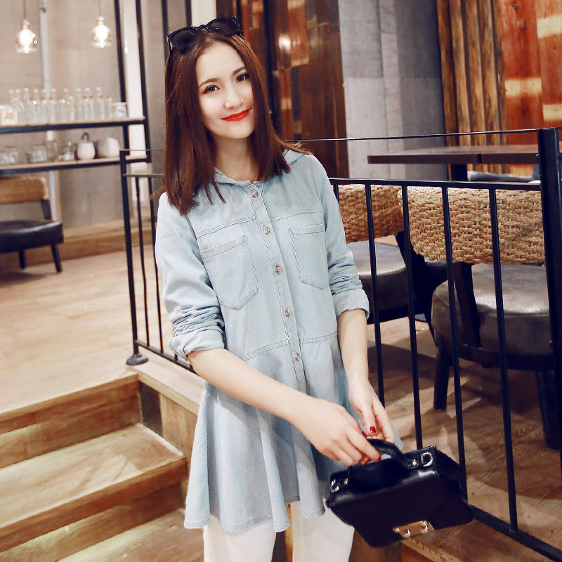 Blusa Feminina 2015 Spring Summer Women Tops Fashion Hooded Full Sleeve Long Denim Blouses Novelty Women's Clothing Plus Size(China (Mainland))