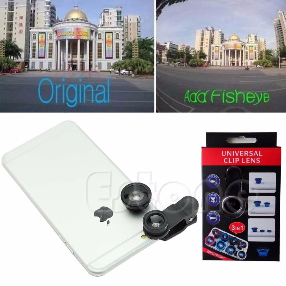 Free Shipping 3in1 180degrees Fish Eye+Wide Angle+Macro Camera Photo Zoom Lens Kit For iPhone 5 5s 6