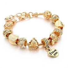 Hot Selling 2016 Heart Charm Bracelets & Bangles Gold Bracelets For Women DIY Pulsera Famous Brand Jewellery SBR150074(China (Mainland))