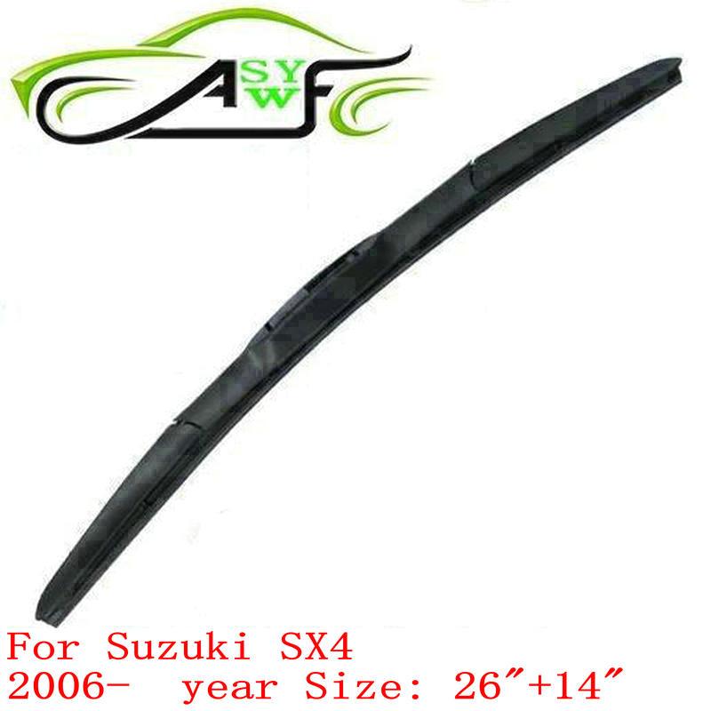 "Free shipping car wiper blade for Suzuki SX4 (2006 onwards) 26""+14"" Soft Rubber WindShield Wiper Blade 2pcs/PAIR(China (Mainland))"