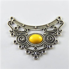 Buy GraceAngie 5pcs Antiqued Style Silver Tone Alloy Yellow AcrylicCharm Connector Decor Hanging Jewelry Accessories Hot 64*49*2mm for $3.19 in AliExpress store