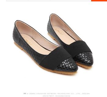 New Arrival Women Spring Autumn Casual Flat Shoes Plus Size 35-43 Ladies Fashion Woven Pattern Pointed Toe Office Flats 59
