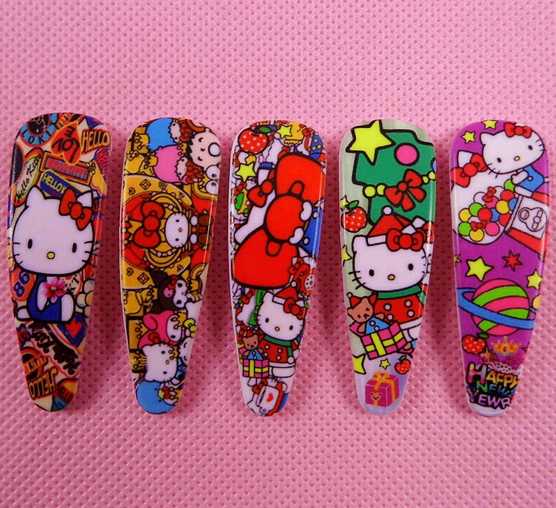 New 100 Pcs 50 Pairs Cartoon Hello Kitty Hair Clips Girls BB Hair Accessories Cartoon Headdress Kids Gifts ZF-16(China (Mainland))