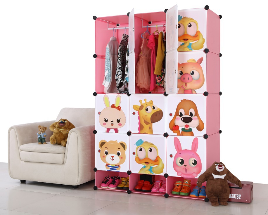 wardrobe closet PP DIY children clothes cabinets storages bedroom wardrobes with handing robs and shoe cabinet(China (Mainland))