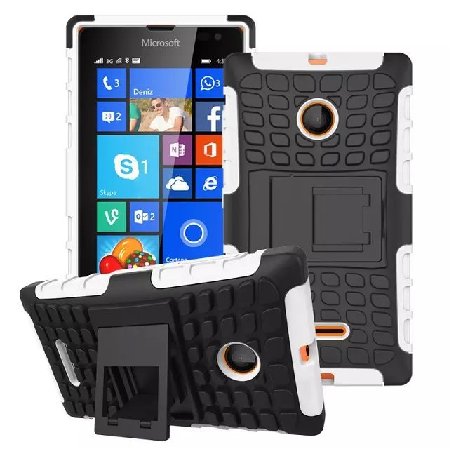 With stand 2 in 1 Soft Gel TPU + PC phone case back cover for Microsoft Lumia 435 , for Nokia Lumia 435 Stand Case Robot Style(China (Mainland))