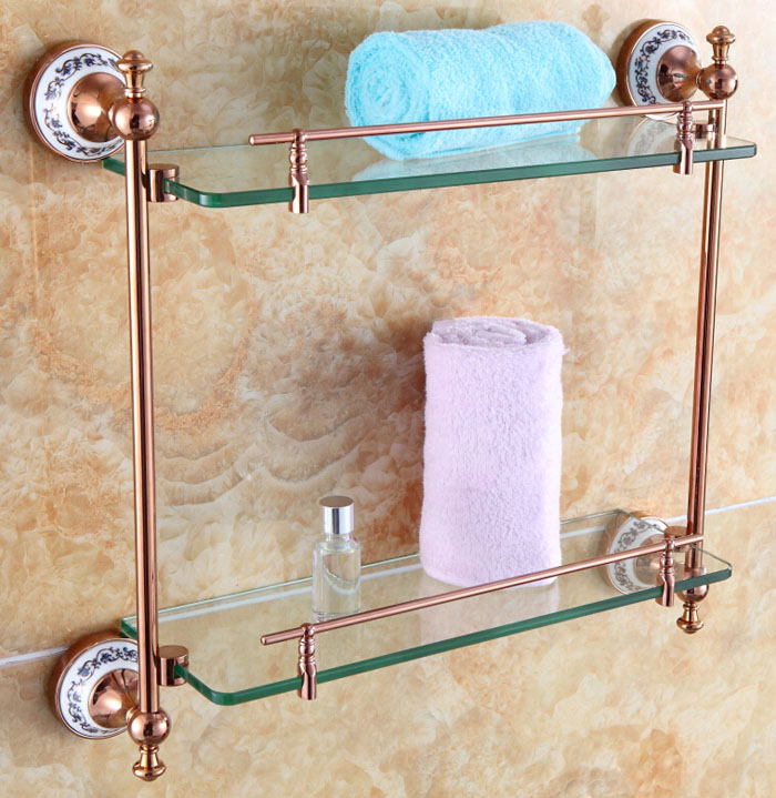 Free shipping bathroom accessories solid brass rose gold for Gold glass bathroom accessories