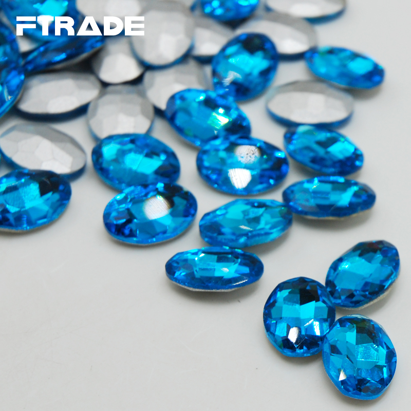 Aquamarine Color Glass Crystal 4x6mm-20x30mm 8 Sizes Oval Point Back Fancy Glue on Stone for Jewerly Decoration Free shipping(China (Mainland))