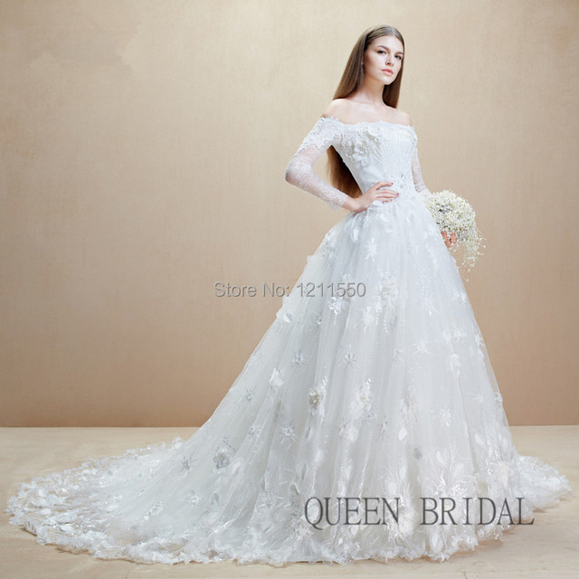 Buy Beaded Tulle Lace Off Shoulder Wedding Dresses Long Slee