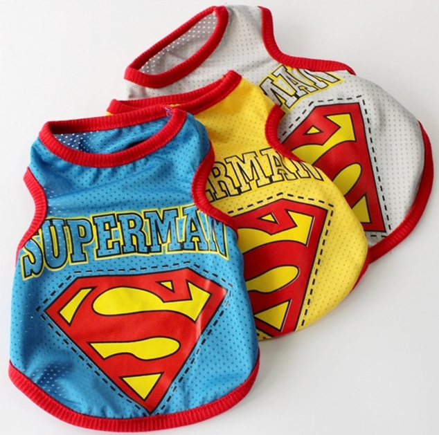 Dog Clothes for Dogs Summer Dog Shirt Superman Mesh Vest Clothing for Dogs 3 Colors 1PCS/LOT(China (Mainland))