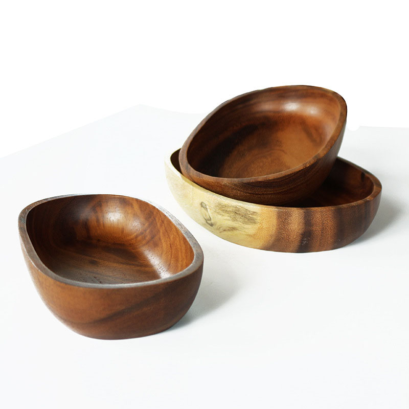 Kitchen Tableware Japanese Style High Capacity Acacia Wood Hand Made Woodenware Oval Flat Plates Fruit Salad Dishes S M L Size(China (Mainland))