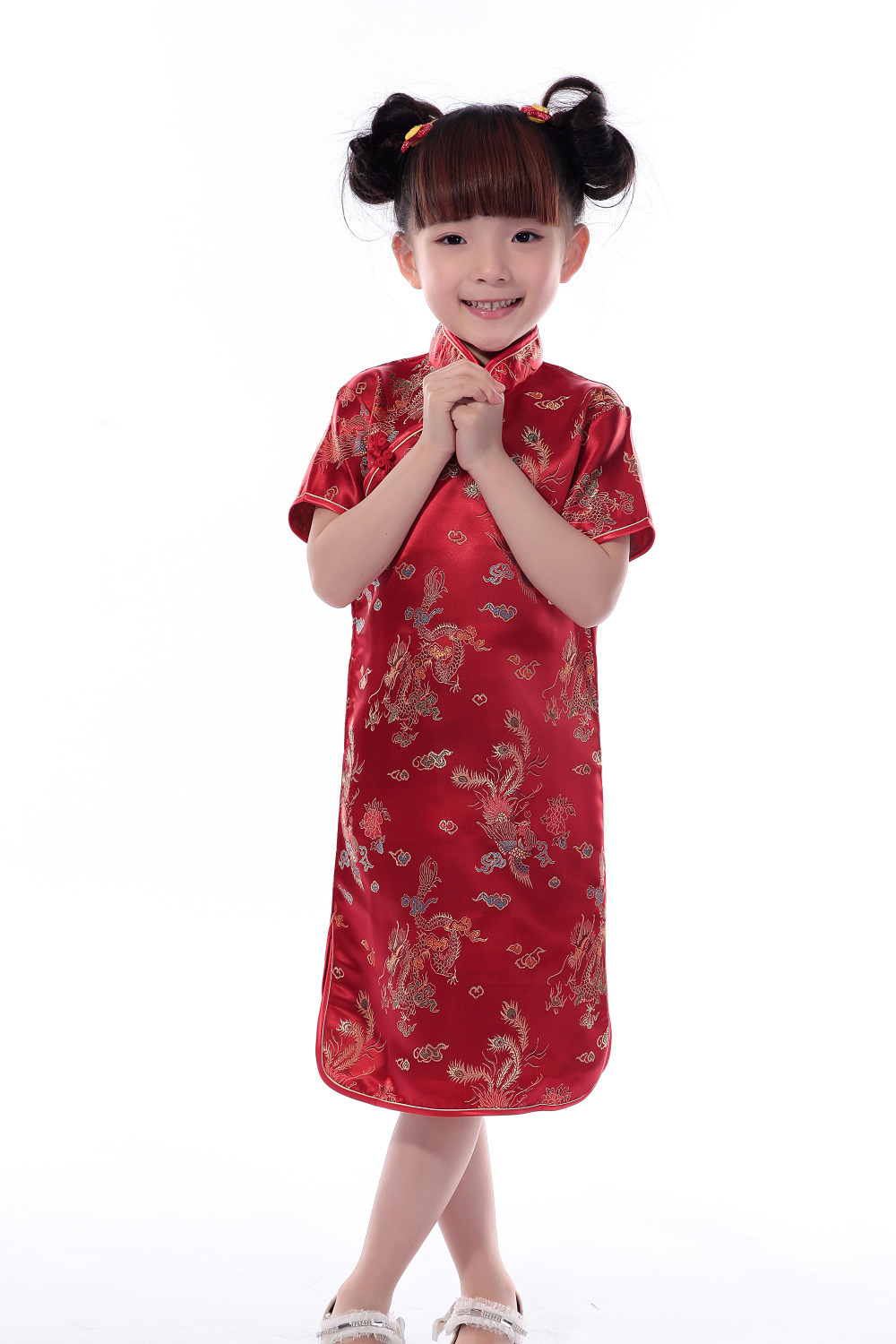 Red Brocade Dragon Phoenix Embroidery Retro Chinese