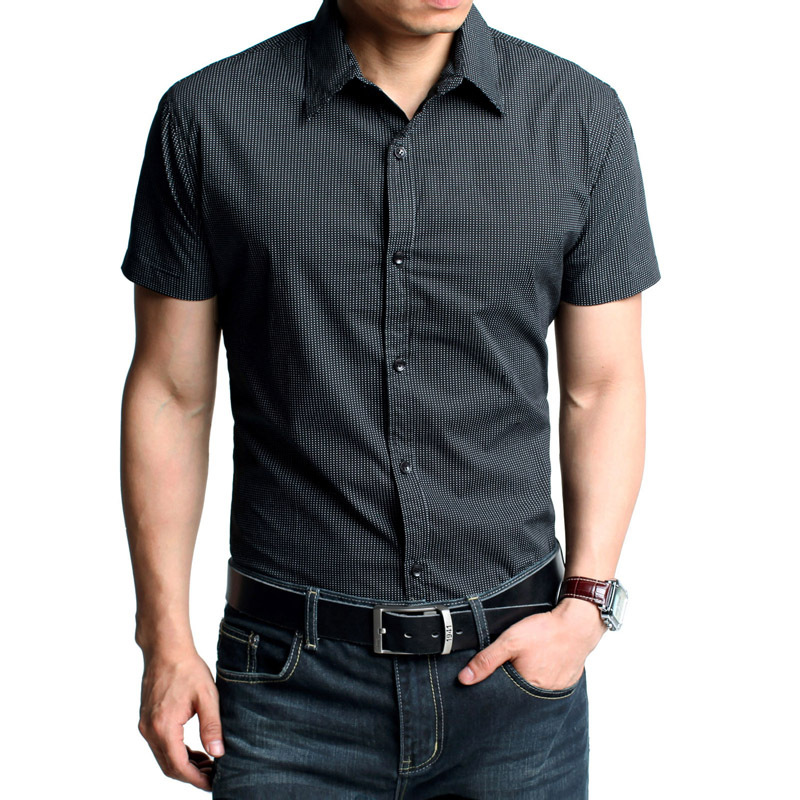 Summer business casual black white purple deep men 39 s male for Black shirt business casual