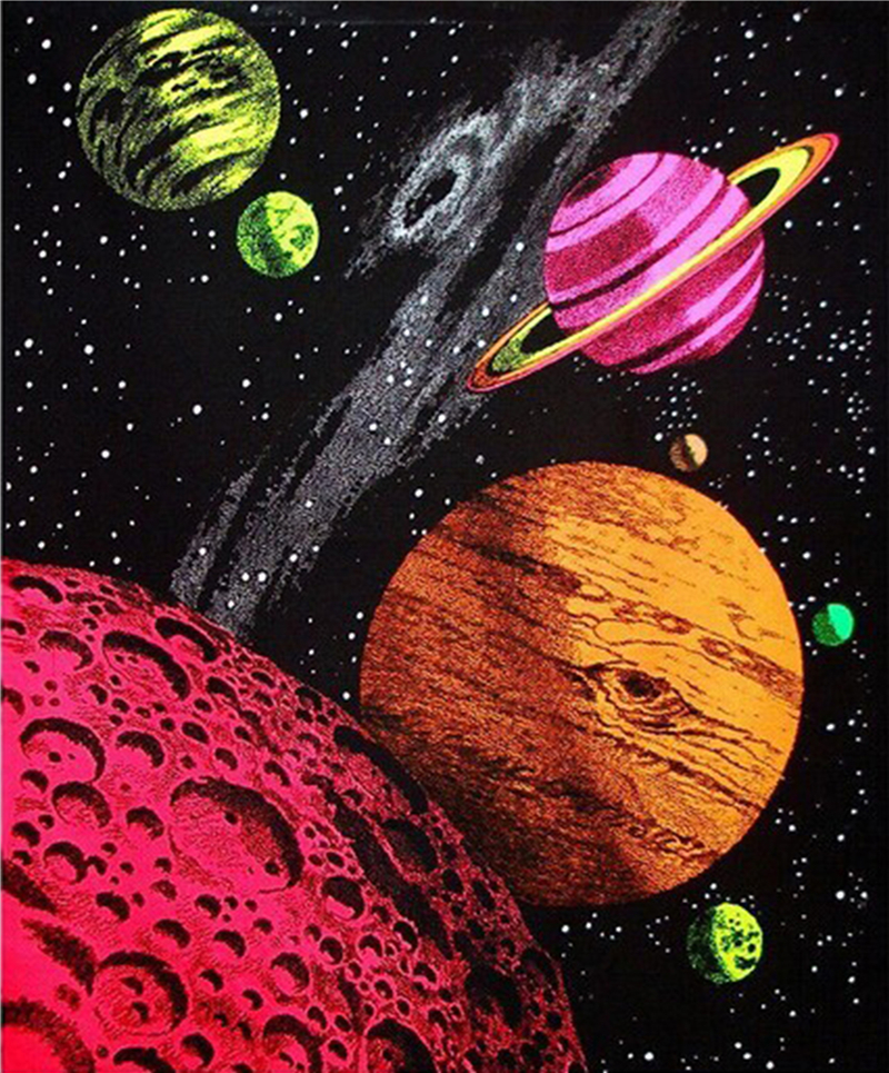 Free shipping outer space galaxy blacklight customized for Outer space garden design cumbria