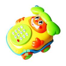 Child puzzle cartoon music phone toy music phone toy car belt baby  toys(China (Mainland))