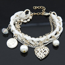 Fashion Multilayers Crystal Imitation Pearl Love Heart Charm Bracelet jewelry for Women Braided Ribbon Chain Pulseiras Femininas(China (Mainland))