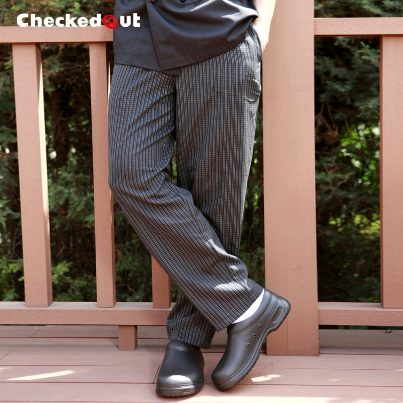 Free Shipping Work pants checkedout trousers cook pants Grey Grid chef pants(China (Mainland))