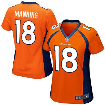 2016 Women Denver Broncos #18 Peyton Manning embroideried Logo Orange Navy Blue(China (Mainland))