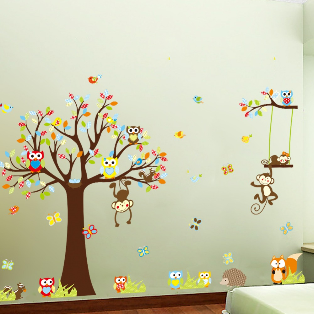 large size animal wall stickers for kids room decorations 109 inch large tree wall decals for kids rooms