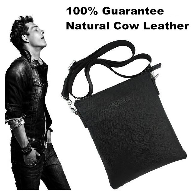 100% Guarantee Natural Cow Leather men bags Fashion shoulder crossbody bag Simple style casual soft leather men messenger bags()