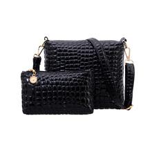 Hot! 2PCS Bag Set Messenger Shoulder Bag Crocodile PU Leather Casual Crossbody Quilted Bags Set Clutch Composite Handbags(China (Mainland))
