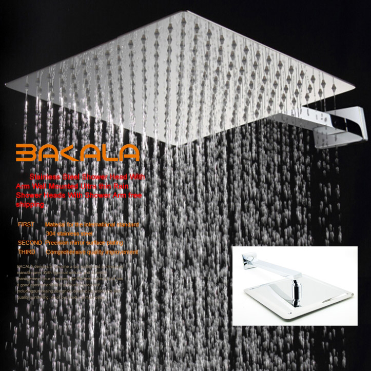 Fashion square stainless steel ultra-thin showerheads and Shower Arm 6 8 10 12 16 inch rainfall shower head.Rain shower.(China (Mainland))