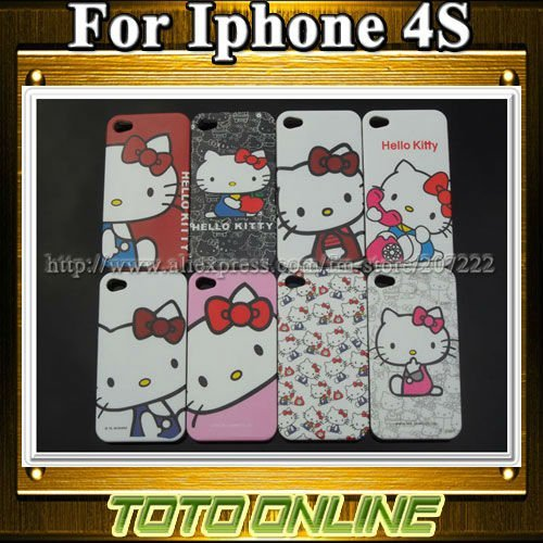 20pcs/lot Glossy Hello Kitty Cell phone Cases for iphone 4 4S Freeshipping