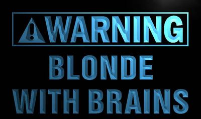 m885-b Warning Blonde With Brains LED Neon Light Sign Wholesale Dropshipping(China (Mainland))