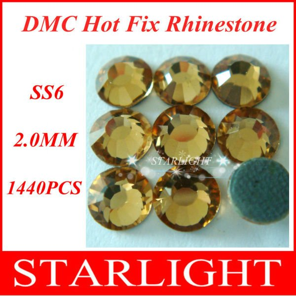 Wholesale,FREE SHIPPING,DMC hot fix rhinestone, Lt. col. Topaz Color ss6,China post air mail free,1440pcs/lot star15(China (Mainland))