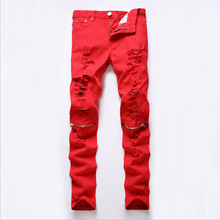 2016 New Fashion Designers Mens Ripped Pencil Stretch Jeans Boot Cut Slim Fit Skinny Biker Jeans Pants Famous Brand Red & Black