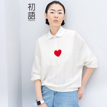 Toyouth 2016 Spring Summer New Arrival Solid Print Heart Pattern O-Neck Full Length Women Casual Fashion Embroidery Sweaters(China (Mainland))