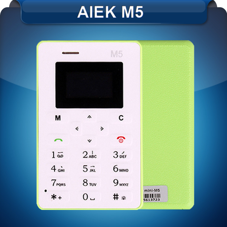Original 4.5mm Ultra Thin AIEK M5 Card Cell Phone Low Radiation Quad Bands Students Kids AEKU M5 Mini Pocket Cell Phone(China (Mainland))