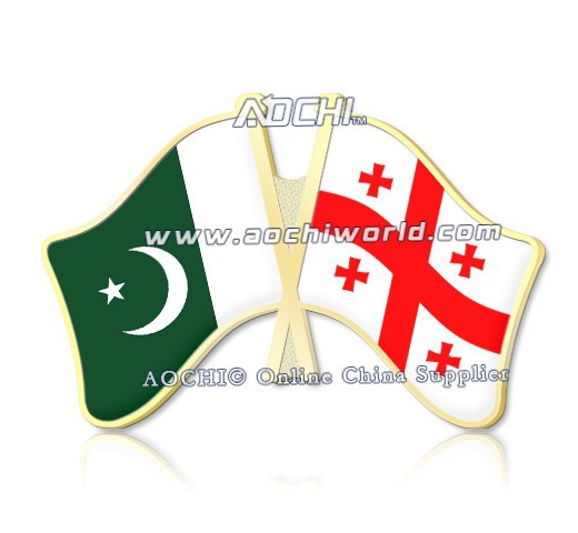 Best Selling Mix and Match Pakistan and Georgia Crossed Flags Lapel Pins(China (Mainland))