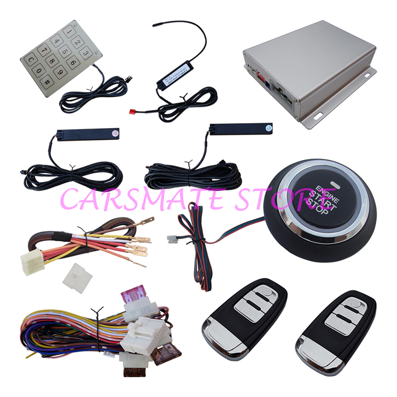 Stock In Australia Intelligent PKE Car Alarm System With Engine Start Stop Push Button & Password Keyboard Smart Key Alarm(China (Mainland))