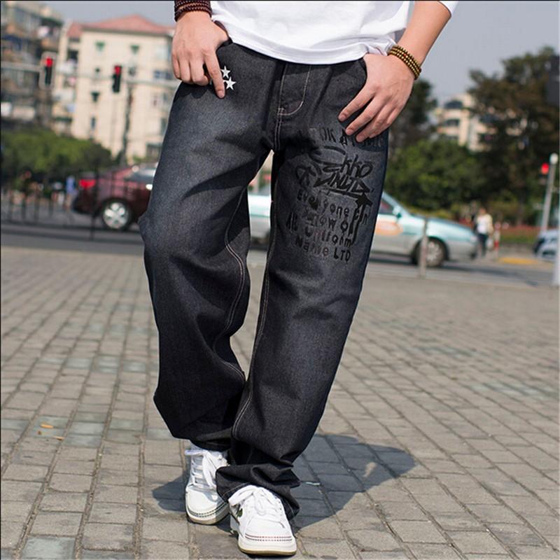 Hip Hop Baggy Jeans Black Mens Denim Hip-hop Loose Pants Rap Jeans For Boy Rapper Fashion Big Size 28-46 Famous Brand Jeans 2016