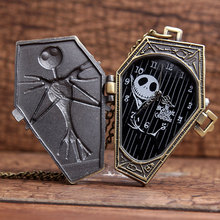 5PCS Wholesale Childs Skull Skeleton Coffin Bronze Chain Nightmare Before Christmas Halloween Gift Men&Wemom Quartz Pocket watch(China (Mainland))