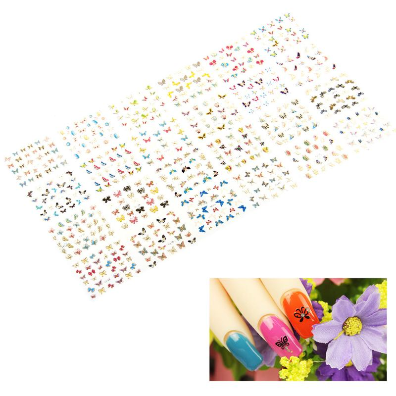 2016 New 24pcs Stickers for Nails Exquisite 3D Butterfly Nail Art Sticker Nails Stikcer Decorations Manicure Tips Decal(China (Mainland))