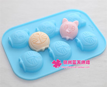 6C Silicone Cat Doraemon Little girl Cake Chocolate Soap Pudding Jelly Candy Ice Cookie Biscuit Mold Mould Pan Bakeware