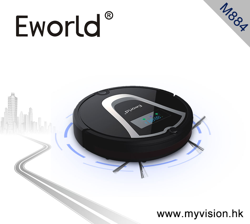 (Free to Europe )Eworld M884 Intelligent Robot Vacuum Cleaner for Home Slim,HEPA Filter,Remote Control Self Charge ,Dust Bag(China (Mainland))