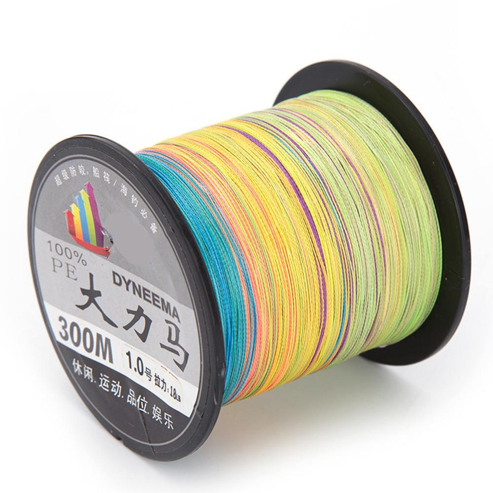 Cheap 300M 4 Strands 4 Weaves Multicolored Braided Fishing Line 100%PE Braided Line Diameter 0.12mm-0.50mm Test LB 10LB-70LB(China (Mainland))