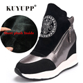 Short Plush Warm Women Boots Wedges Hide Heels Platform Genuine Leather Shoes Black Glod Casual Rhinestone