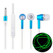 Best Item Fashion Metal In Ear Heavy Bass Music Noctilucence Glowing Headphone Luminous Earphone With Mic for iPhone Samsung HTC